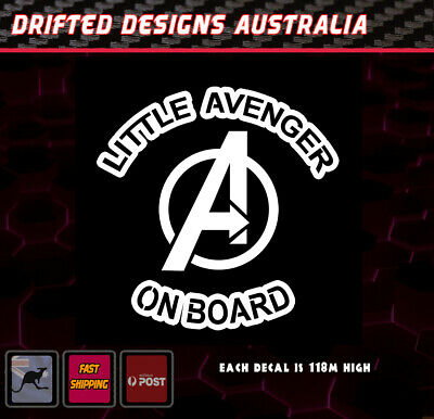 Little Avenger On Board - baby on Board White Funny Decal Marvel
