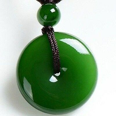 Chinese natural jade carved by hand round jade pendant Green++AAA