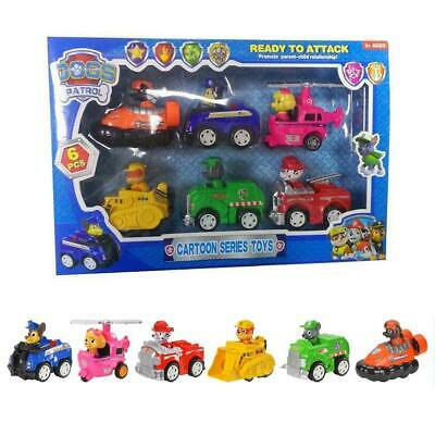 6PCS Racer Car Paw Patrol Dogs Marshall Rubble Rocky Chase Skye Kids Toys Gifts
