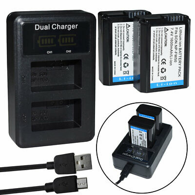 2X Battery+charger for Sony NP-FW50 A5000 A6300 A6400 A6500 NEX sery A55 A37 A55