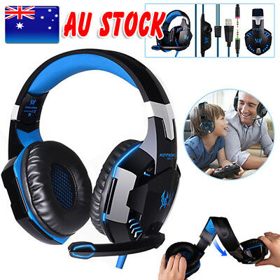 Blue EACH 3.5mm Gaming Headset MIC Headphones for PC Mac Laptop PS4 Xbox One 360