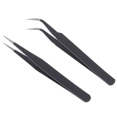 1PC Micro Point Curved Straight Tweezers Fine Tip Stainless Steel  ^S