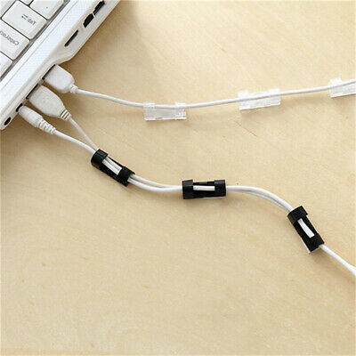 Pack of 40 Self-Adhesive Cable Clips Organizer Drop Wire Holder Cord Management