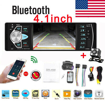 Single 1DIN Car Stereo MP5 MP3 4.1'' Player Bluetooth FM Radio USB AUX +