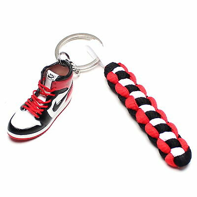 257228f2343 3D Mini Sneaker Shoes Keychain Bulls Chicago With Strings for Air Jordan 1