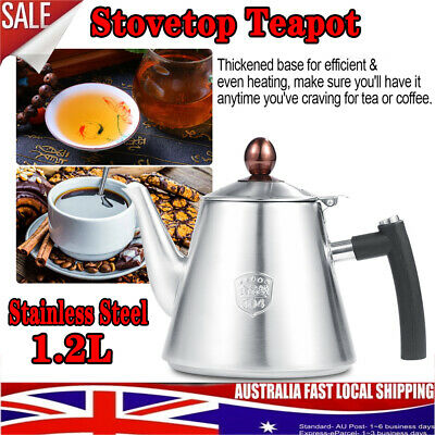 1.2L Stainless Steel Stovetop Teapot Coffee Pot Kettle Heat Resistant w/ Handle