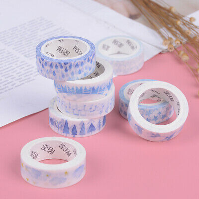 Creative blue decorative tape scrapbooking masking tape school office supply ^S