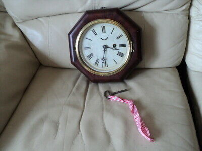 Antique Wooden Cased P.h&S Wall Clock With Key Is Working
