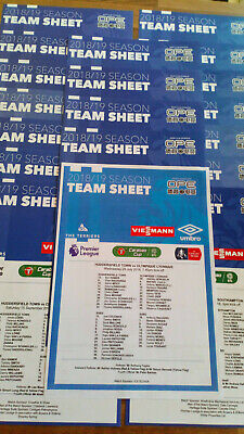 Full Set of 2018/19 Huddersfield Town Official Colour Teamsheet - All 20 games