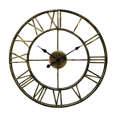 Vintage Rome Numbers Round Metal Hollow Large Wall Clock Battery Operated Decor
