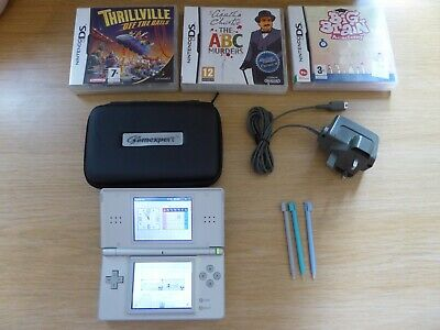 SILVER NINTENDO DS LITE CONSOLE (fully working, nice cond) +GAMES *FREE 1ST P&P*