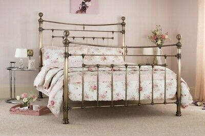 Antique Brass Traditional Victorian Style Metal Bed Frame Bedstead.4ft6,5ft,6ft