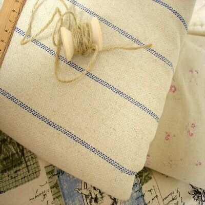 French Shabby Vintage Chic Stripes Hemp Linen Grain Sack Fabric Blue Remnant