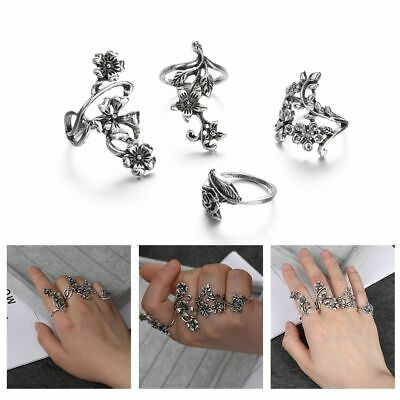 Women Vintage Ancient Silver Ring Set Big Flower Leaf Midi Finger Knuckle