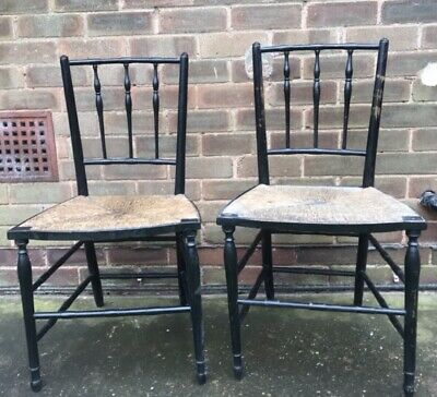 Ebonised Sussex Chairs William Morris Wicker Chair Victorian