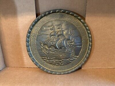 Brass Nautical Decor Wall Plate / Plaque Voyager Boat Ship