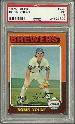 1975 Topps #223 Robin Yount ROOKIE RC HOF Milwaukee Brewers PSA 3 VG