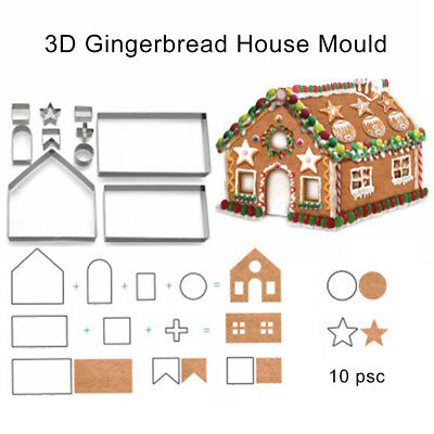 EG_ 10Pcs DIY Christmas Gingerbread House Cookie Biscuit Cutter Baking Mould New