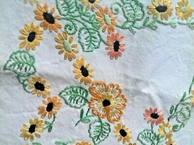 "Vintage Quality Linen Hand Embroidered Tablecloth floral 35"" sq Arts & Crafts"
