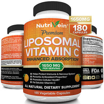 Nutrivein Liposomal Vitamin C 1400mg -180 Capsules - High Absorption Supplements