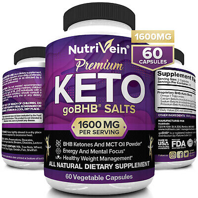 Nutrivein Keto Diet Pills 1250mg - 60 Capsules - Weight Loss Supplement Fat Burn