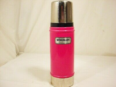 "Pink Stanley Vacuum Insulated Metal Thermos Bottle 16 oz Flask 10 1/2"" Free Ship"