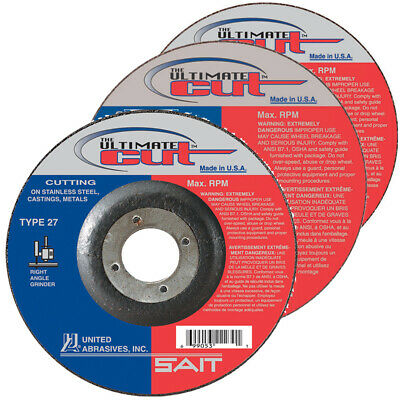"SAIT Type 27 (42) Ultimate Cut 4-1/2"" x .045 x 7/8"" Arbor Cutting Wheels QTY 10"