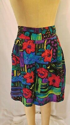 VINTAGE 80s NEON ABSTRACT FLORAL PRINT HIGH WAIST PLEATED SHORTS SMALL