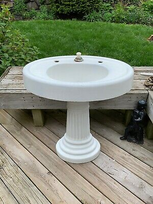 Antique Cast Iron  Oval Sink w/ Fluted Pedestal