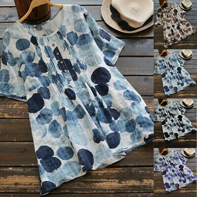c52d7f68f Plus Size Women Summer Printed Loose T-shirt Tops Ladies Linen Casual Tee  Blouse