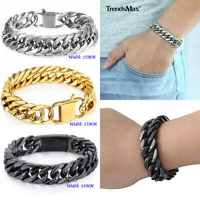 1/2Pc 15mm 316L Stainless Steel Bracelet Silver/Black/Gold Curb Cuban Link Chain