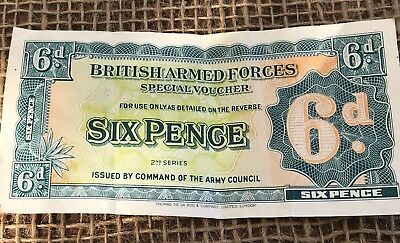 1948 RARE British Armed Forces Special Voucher 6 Sixpence 2nd Series