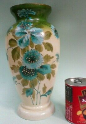 """19th century Hand Painted Glass Vase, 12"""" high..........................ref.1628"""