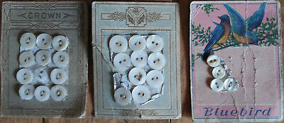 Lot of 21 Antique Mother of Pearl Shell Buttons - 1900s - Unused on Orig Pkg