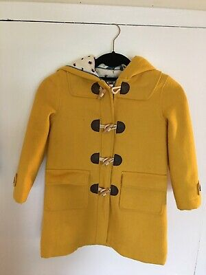 Mini Boden Girls 5-6Y Coat Funky Duffle Toggle Hooded Yellow Wool Blend Lined