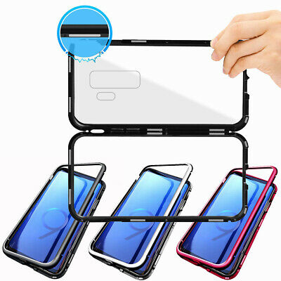 Magnetic Adsorption Metal Tempered Glass Case Cover for Samsung S8 S9 Plus Note8