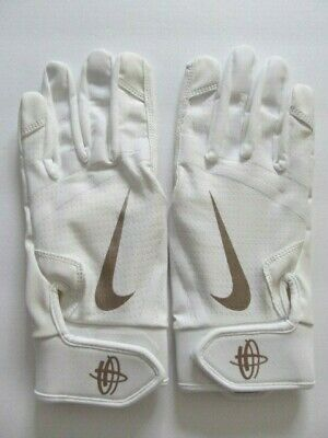 a25a31e00e811 Nike Huarache Edge Youth Batting Gloves Men s Large White Metallic Red  Bronze