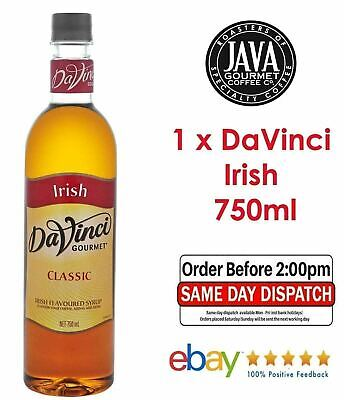 DaVinci Irish Syrup 750ml Coffee Cocktail Barista Cafe Frappe Milkshake Dessert