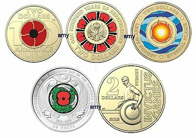 5 x coins - 2019 $2 & 50c UNC coloured coin Lest We Forget Remembrance Flame