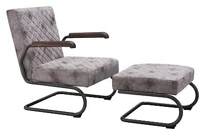 Industrial Antique Vintage Living Office Lounge Chair, White, Faux Leather, 9263