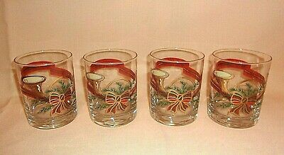 Georges Briard Vintage Christmas French Horn Double Old Fashioned Glasses  4 PCS