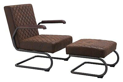 Industrial Antique Vintage Living Office Lounge Chair, Brown, Faux Leather, 9262