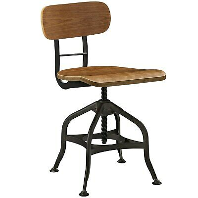 Modern Industrial Antique Vintage Dining Stool Chair, Metal Natural Wood, 10098