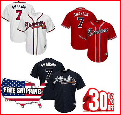 Atlanta Braves Cool Base Jersey #7 Dansby Swanson Stitched Jersey Free Shipping