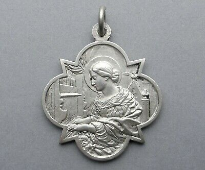 French Antique Religious Sterling Pendant. Saint Cecilia. Music. Silver Medal.