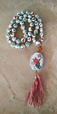 Antique Chinese Porcelain Hand Painted Beads Floral Bird Medallion Red White