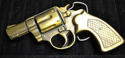 Vintage MINI REVOLVER Metal BELT BUCKLE Firearm Design