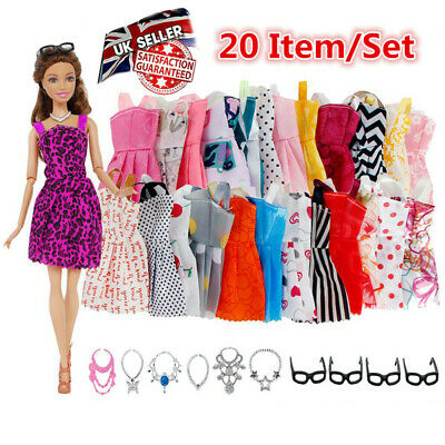 NEW For Barbie Doll Dresses, Shoes and jewellery Clothes Accessories 20pcs/Set
