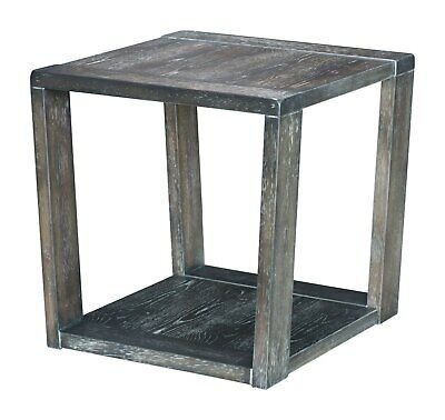 Country Farm House Western Square End Side Table, Grey Gray, Wood, Lounge, 16156