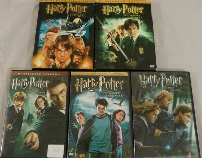 Lot of 5 Harry Potter Movies DVDs: Sorcerer's Stone, Chamber of Secrets 10 Disc